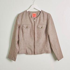 Isaac Mizrahi For Target Tan Linen Blazer/Jacket
